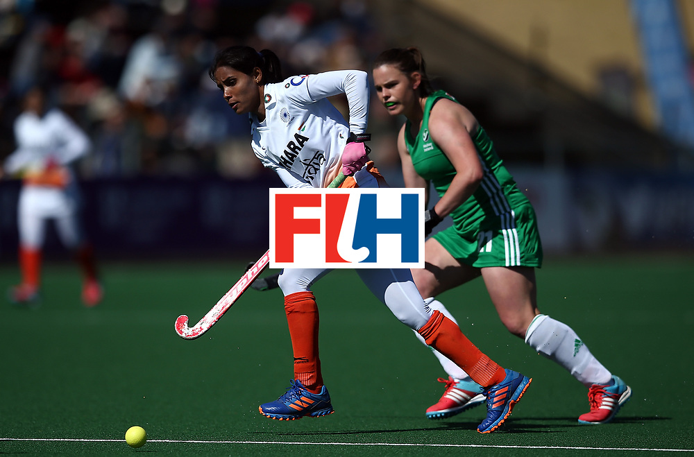 JOHANNESBURG, SOUTH AFRICA - JULY 22:  Vandana Katariya of India controls the ball from Lizzie Colvin of Ireland during day 8 of the FIH Hockey World League Women's Semi Finals 7th/ 8th place match between India and Ireland at Wits University on July 22, 2017 in Johannesburg, South Africa.  (Photo by Jan Kruger/Getty Images for FIH)