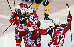 31.10.2014, Albert Schultz Eishalle, Wien, AUT, EBEL, UPC Vienna Capitals vs EC KAC, 5. Runde, im Bild Torjubel Thomas Poeck (EC KAC), Daniel Ban (EC KAC), Marcel Witting (EC KAC) und Thomas Vallant (EC KAC) // during the Erste Bank Icehockey League 5th Round match between UPC Vienna Capitals and EC KAC at the Albert Schultz Ice Arena, Vienna, Austria on 2014/10/31. EXPA Pictures © 2014, PhotoCredit: EXPA/ Thomas Haumer