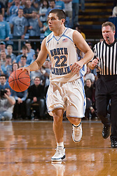 28 December 2006: North Carolina Tarheel guard (22) Wes Miller during a 87-48 Rutgers Scarlet Knights loss to the North Carolina Tarheels, in the Dean Smith Center in Chapel Hill, NC.<br />