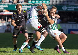 DURBAN, SOUTH AFRICA - MAY 19: Andre Esterhuizenof the Cell C Sharks on attack during the Super Rugby match between Cell C Sharks and Chiefs at Jonsson Kings Park on May 19, 2018 in Durban, South Africa. Picture Leon Lestrade/African News Agency/ANA