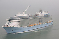 Royal Caribbean's  brand new cruise ship Quantum of the Seas, the worlds first smartship, arrives in Southampton, UK. The ship boasts Robot bartenders, indoor skydiving  Jamie's Italian restaurant and North Star - jewel-shaped capsule which gently ascends over 300 feet above sea level. The ship is visiting Southampton before sailing to New York on the 02nd November 2014.