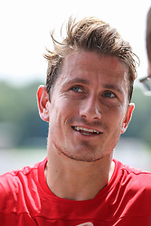 29.06.2015, Ernst-Lehner-Stadion, Augsburg, GER, 1. FBL, FC Augsburg, Trainigsauftakt, Laktat-Test, im Bild Kapitaen Paul Verhaegh (FC Augsburg #2) im Interview, // during a traning session of German 1st Bundeliga Club FC Augsburg at the Ernst-Lehner-Stadion in Augsburg, Germany on 2015/06/29. EXPA Pictures © 2015, PhotoCredit: EXPA/ Eibner-Pressefoto/ Krieger<br /> <br /> *****ATTENTION - OUT of GER*****