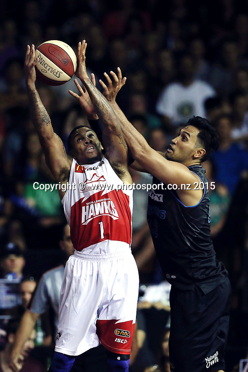 Tai Wesley of the Breakers competes against Gary Ervin of the Hawks for a rebound. 2014/15 ANBL, SkyCity Breakers vs Wollongong Hawks, North Shore Events Centre, Auckland, New Zealand. Thursday 8 January 2015. Photo: Anthony Au-Yeung / www.photosport.co.nz