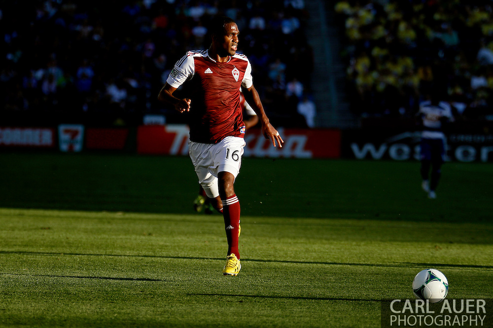 June 1st, 2013 - Colorado Rapids midfielder Atiba Harris (16) looks for a opening as he brings the ball up the field in first half action of the MLS match between FC Dallas and the Colorado Rapids at Dick's Sporting Goods Park in Commerce City, CO