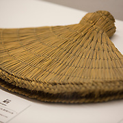 "TOKYO, JAPAN - JULY 2 : ""Amigasa"" a hat made of bamboo to cover the face of Ninja is on display during a ninja exhibition that kicks off Saturday at Miraikan in Tokyo, Japan on July 2, 2016. A special exhibition entitled ""The Ninja- who were they?"" will be open from July 2 (Saturday), 2016 to October 10 (Monday) 2016 at the Miraikan (National Museum of Emerging Science and Innovation). Photo: Richard Atrero de Guzman"