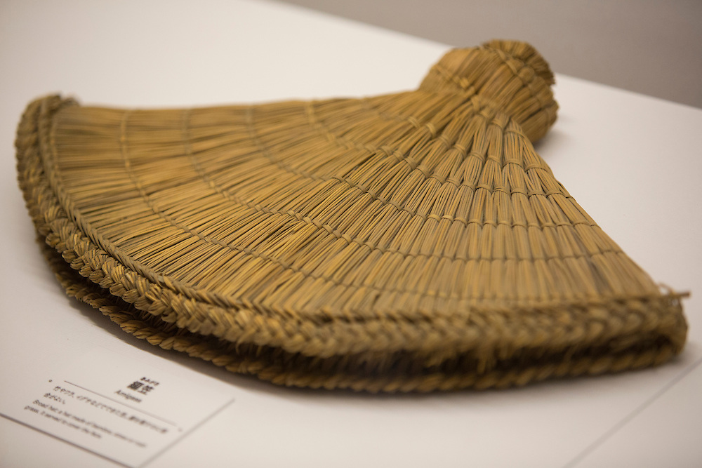 """TOKYO, JAPAN - JULY 2 : """"Amigasa"""" a hat made of bamboo to cover the face of Ninja is on display during a ninja exhibition that kicks off Saturday at Miraikan in Tokyo, Japan on July 2, 2016. A special exhibition entitled """"The Ninja- who were they?"""" will be open from July 2 (Saturday), 2016 to October 10 (Monday) 2016 at the Miraikan (National Museum of Emerging Science and Innovation). Photo: Richard Atrero de Guzman"""