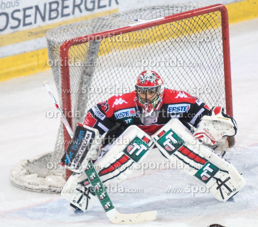 11.10.2015, Tiroler Wasserkraft Arena, Innsbruck, AUT, EBEL, HC TWK Innsbruck die Haie vs Dornbirner Eishockey Club, 10. Runde, im Bild Andy Chiodo (HC TWK Innsbruck Die Haie) // during the Erste Bank Icehockey League 10th round match between HC TWK Innsbruck  die Haie and Dornbirner Eishockey Club at the Tiroler Wasserkraft Arena in Innsbruck, Austria on 2015/10/11, EXPA Pictures © 2015, PhotoCredit: EXPA/ Jakob Gruber