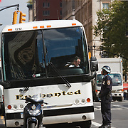 New York city traffic policeman and tour bus driver, Manhattan, New York, NY