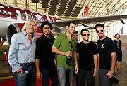(L-R) Sir Richard Branson, Adrian Grenier, Doug Ellin, Jerry Ferrara, Kevin Connolly and Kevin Dillon pose as Virgin America launches JFK-Las Vegas Service with 'Entourage' Airbus A320 at JFK Airport in New York City in New York City, USA on September 4, 2008.