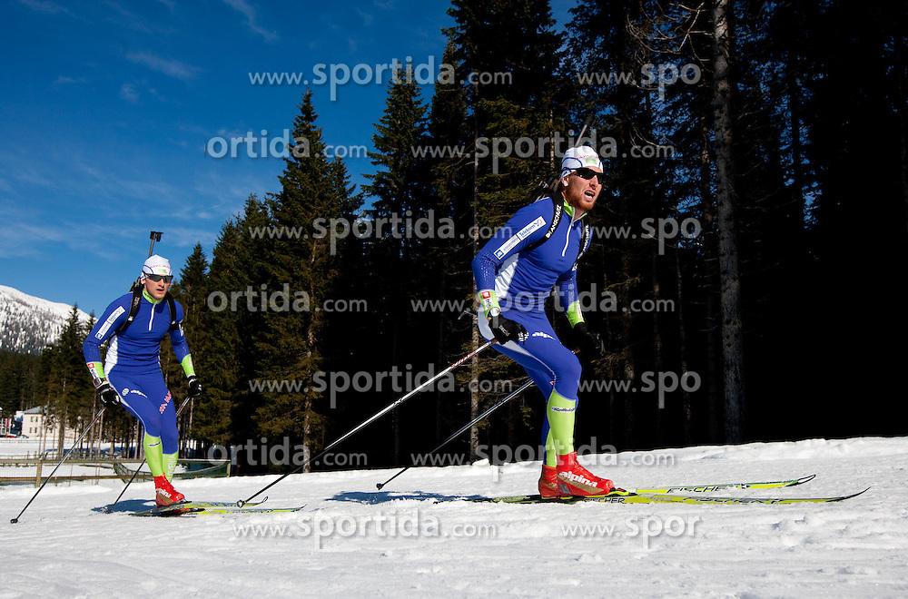 Jakov Fak and Klemen Bauer at practice session during Media day of Slovenian biathlon team on November 12, 2010 at Rudno polje, Pokljuka, Slovenia. (Photo By Vid Ponikvar / Sportida.com)