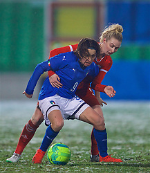 CESENA, ITALY - Tuesday, January 22, 2019: Wales' Rhiannon Roberts tackles Italy's Daniela Sabatino during the International Friendly between Italy and Wales at the Stadio Dino Manuzzi. (Pic by David Rawcliffe/Propaganda)
