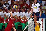 Katowice, Poland - 2017 September 01: (L) Former volleyball player Sebastian Swiderski from Poland attends in All Stars Game while Opening Ceremony during European Unified Volleyball Tournament 2017 at Spodek Hall on September 01, 2017 in Katowice, Poland.<br /> <br /> Adam Nurkiewicz declares that he has no rights to the image of people at the photographs of his authorship.<br /> <br /> Picture also available in RAW (NEF) or TIFF format on special request.<br /> <br /> Any editorial, commercial or promotional use requires written permission from the author of image.<br /> <br /> Image can be used in the press when the method of use and the signature does not hurt people on the picture.<br /> <br /> Mandatory credit:<br /> Photo by © Adam Nurkiewicz / Mediasport