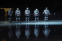 KELOWNA, CANADA - NOVEMBER 21:  The Regina Pats' line up against the Kelowna Rockets on November 21, 2018 at Prospera Place in Kelowna, British Columbia, Canada.  (Photo by Marissa Baecker/Shoot the Breeze)