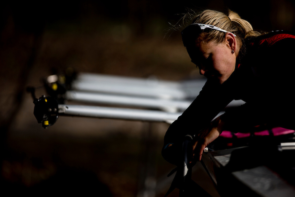 Emily Cameron National rowing team member trains in the quad at Lake Fanshawe in London, Ontario Canada on April 25th, 2016.