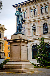 Statue of Marco Minghetti in the square that bears his name, Bologna, Italy<br /> <br /> (c) Andrew Wilson | Edinburgh Elite media