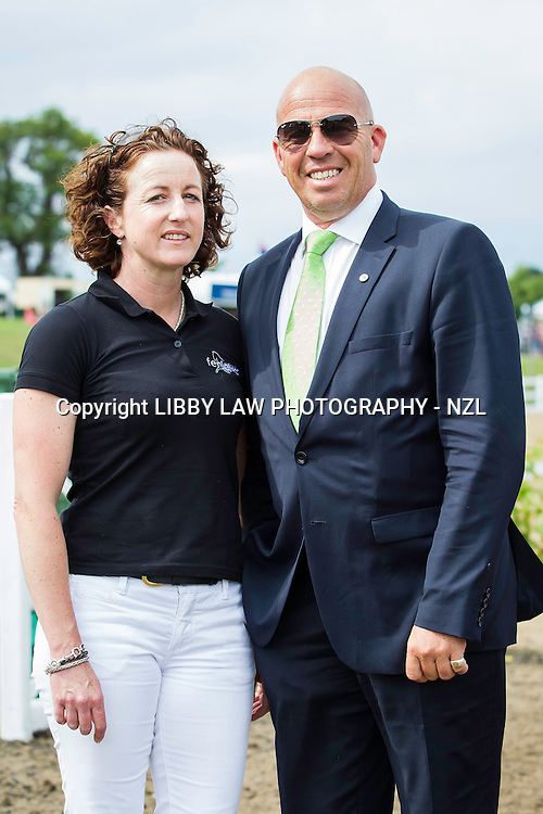 SUPERMODEL BEHAVIOUR: NZL-Shiwon Green with her GORGEOUS Coach: Peter Storr: 2014 GBR-Hartpury Festival Of Dressage:  (Saturday 12 July) CREDIT: Libby Law COPYRIGHT: LIBBY LAW PHOTOGRAPHY - NZL