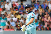 Wicket - Jonny Bairstow of England looks dejected as he walks back to the pavilion after being dismissed by Lockie Ferguson of New Zealand during the ICC Cricket World Cup 2019 Final match between New Zealand and England at Lord's Cricket Ground, St John's Wood, United Kingdom on 14 July 2019.