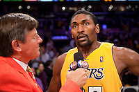 27 May 2010: Forward Ron Artest of the Los Angeles Lakers is interviewed by Craig Sager of TNT after hitting the game winning shot to defeat the Phoenix Suns 103-101 in Game 5 of the NBA Western Conference Finals at the STAPLES Center in Los Angeles, CA.