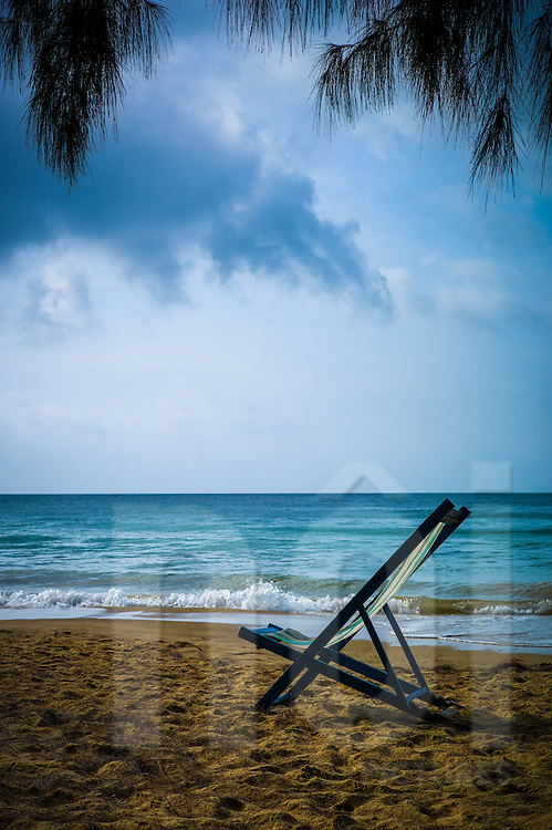 Sun lounger on Dam Trau beach, Con Dao, Ba Ria - Vung Tau Province, Vietnam, Southeast Asia
