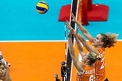 07-10-2018 JPN: World Championship Volleyball Women day 8, Nagoya<br /> Netherlands - Puerto Rico 3-0 / Maret Balkestein-Grothues #6 of Netherlands, Nicole Koolhaas #22 of Netherlands
