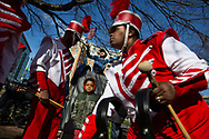 Members of a local band prepare for the D.C. Chinese New Year's Parade in Washington, DC on February 18, 2018. (photo by Ellie Van Houtte)