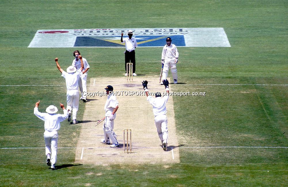 Daniel Vettori takes a wicket. International test Cricket, New Zealand Black Caps v Australia, 1997-97 Season. Photo: Andrew Cornaga/PHOTOSPORT