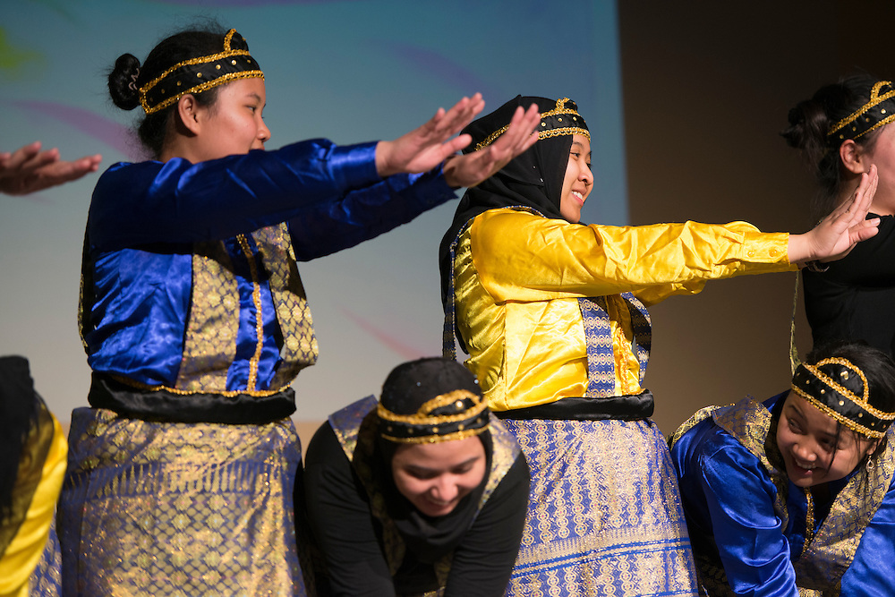 Members of PERMIAS (Indonesian Student Association) practiced for months before the International Women's Festival in order to master the intricate and precise style of their dance. The unison of their movements was accompanied by live performed song.<br /> Pictured:<br /> Nissa Aprilia, Claudia Rakotoarison