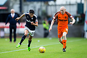 Dundee forward Faissal El Bakhtaoui (#20) and Dundee United midfielder Willo Flood (#16) battle for the ball during the Betfred Scottish Cup group stage match between Dundee and Dundee United at Dens Park, Dundee, Scotland on 29 July 2017. Photo by Craig Doyle.