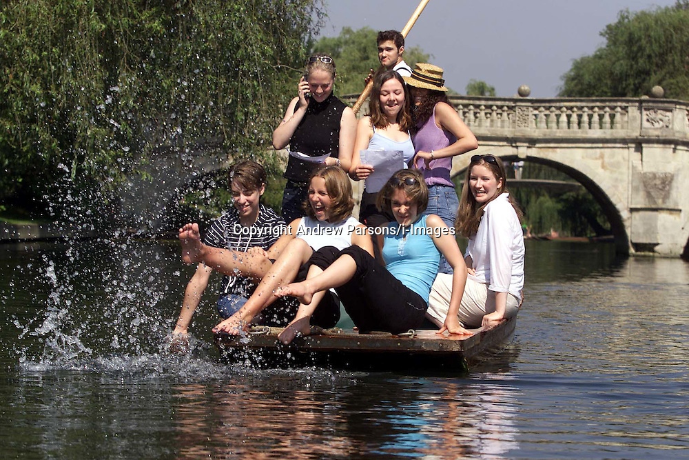 Girls celebrate their GCSE results at St Mary's school, Cambridge. Girls celebrating their results by going punting along Cambridge's backs. .Photo by Andrew Parsons/i-Images.All Rights Reserved ©Andrew Parsons/i-images.See Instructions.