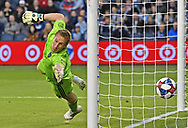 Sporting KC goal keeper Tim Melai (29) attempts to make a save on a goal from New York forward Brian White (not pictured) during the second half against the at Children's Mercy Park.