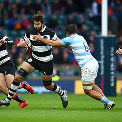 LONDON, ENGLAND - DECEMBER 01: Pablo Matera of Argentina tackling Lood de Jager (Bulls & South Africa) of the Barbarians during the Killik Cup match between Barbarians and Argentina at Twickenham Stadium on December 01, 2018 in London, England. (Photo by Steve Haag/Gallo Images)