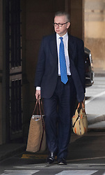 © Licensed to London News Pictures. 03/04/2019. London, UK. Environment Secretary Michael Gove walks from the House of Commons before Prime Minister's Questions. Prime Minister Theresa May has called for talks with Labour Party Leader Jeremy Corbyn to seek a way forward with the Brexit deadlock. Photo credit: Peter Macdiarmid/LNP