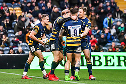 Josh Adams of Worcester Warriors celebrates scoring his sides fourth try with team-mates - Mandatory by-line: Craig Thomas/JMP - 27/01/2018 - RUGBY - Sixways Stadium - Worcester, England - Worcester Warriors v Exeter Chiefs - Anglo Welsh Cup