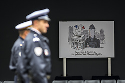 April 25, 2017 - Paris, France - Memorial card of Xavier Jugele, the policeman killed by a jihadist in an attack on the Champs Elysees, is pictured during a ceremony on April 25, 2017 at the Paris prefecture building. French police officer Xavier Jugele was killed on the world-famous Paris avenue on April 20, in an attack claimed by the Islamic State group. (Credit Image: © Julien Mattia/NurPhoto via ZUMA Press)