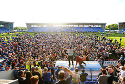 Shrewsbury Town fans celebrate winning the playoff semi-final against Charlton Athletic - Mandatory by-line: Robbie Stephenson/JMP - 13/05/2018 - FOOTBALL - Montgomery Waters Meadow - Shrewsbury, England - Shrewsbury Town v Charlton Athletic - Sky Bet League One Play-Off Semi Final