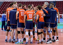 Players of Netherlands after the  volleyball match between National teams of Netherlands and Slovenia in Playoff of 2015 CEV Volleyball European Championship - Men, on October 13, 2015 in Arena Armeec, Sofia, Bulgaria. Photo by Ronald Hoogendoorn / Sportida