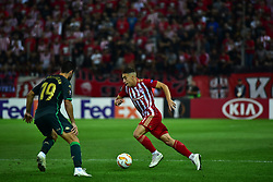 September 20, 2018 - Piraeus, Attiki, Greece - Kostas Tsimikas (no 21) of Olympiacos tries to avoid Antonio Barragan (no 19) of Real Betis. (Credit Image: © Dimitrios Karvountzis/Pacific Press via ZUMA Wire)