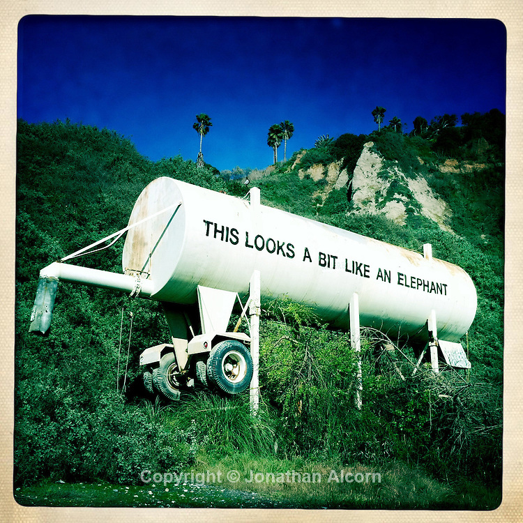 Street artist Bansky painted this old tank on Pacific Coast Highway in Santa Monica