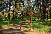 USA, Oregon, Salem, Bush Pasture Park, sign warning hikers that nesting owl may harass them.