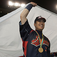 23 March 2009: #2 Kenji Johjima of Japan celebrates the victory against Korea during the 2009 World Baseball Classic final game at Dodger Stadium in Los Angeles, California, USA. Japan defeated Korea 5-3