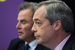 Emmanuel Centre, Westminster, London, April 19th 2016. UKIP leader Nigel Farage is introduced as UKIP launches their London Mayoral campaign manifesto.