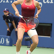 Simona Halep, Romania, celebrates victory against Victoria Azarenka, Belarus, in the Women's Singles Quarterfinals match during the US Open Tennis Tournament, Flushing, New York, USA. 9th September 2015. Photo Tim Clayton