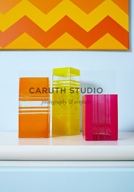 Living room paint projects, colorful vases
