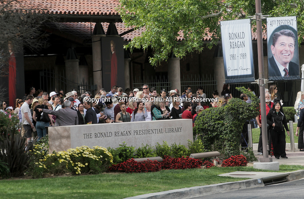 People line up to pay their respects to former First Lady, Nancy Reagan at the Ronald Reagan Presidential Library in Simi Valley, California on March 10, 2016. Former US first lady Nancy Reagan was lying in repose at her husband's presidential library on, with members of the public paying their last respects ahead of a private funeral. (Photo by Ringo Chiu/PHOTOFORMULA.com)<br /> <br /> Usage Notes: This content is intended for editorial use only. For other uses, additional clearances may be required.