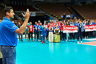"Katowice, Poland - 2017 September 03: SO Ambassador Vladimir ""Vanja"" Grbic a former Serbian volleyball player (he won a gold medal in the 2000 Summer Olympics and a bronze medal in 1996 at Atlanta) speaks while Awarding Ceremony during European Unified Volleyball Tournament 2017 at Spodek Hall on September 03, 2017 in Katowice, Poland.<br /> <br /> Adam Nurkiewicz declares that he has no rights to the image of people at the photographs of his authorship.<br /> <br /> Picture also available in RAW (NEF) or TIFF format on special request.<br /> <br /> Any editorial, commercial or promotional use requires written permission from the author of image.<br /> <br /> Image can be used in the press when the method of use and the signature does not hurt people on the picture.<br /> <br /> Mandatory credit:<br /> Photo by © Adam Nurkiewicz / Mediasport"
