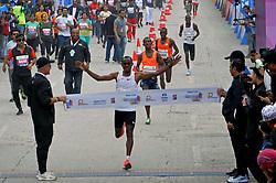 December 16, 2018 - Kolkata, West Bengal, India - Legese win the men Tata Steel Kolkata 25K 218 marathon. (Credit Image: © Saikat Paul/Pacific Press via ZUMA Wire)