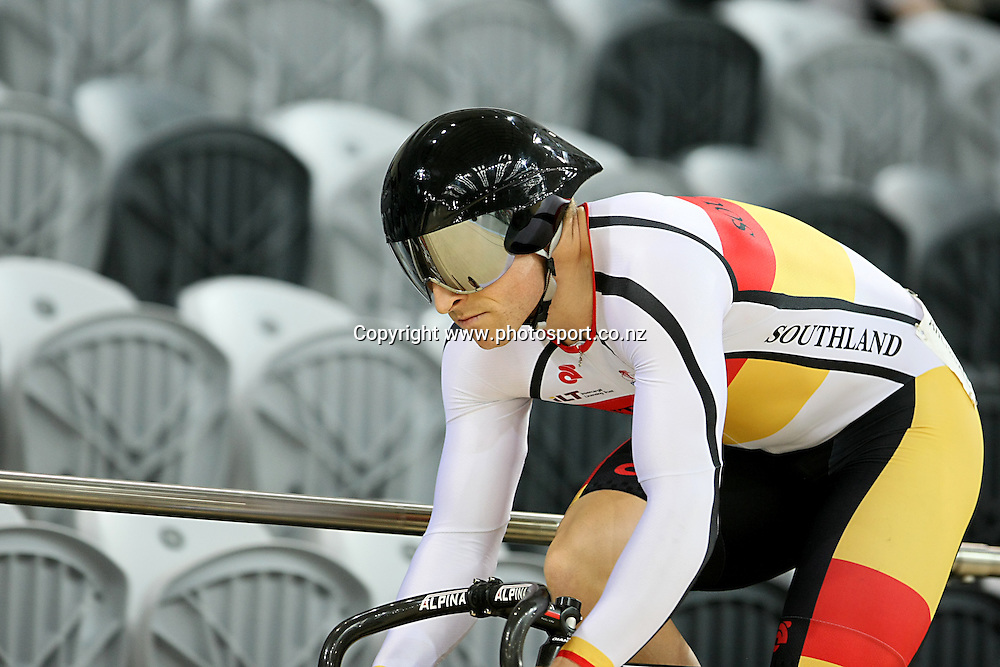 Southland's Matt Archibald in the ME BNZ Sprint qualifying at the BikeNZ Elite & U19 Track National Championships, Avantidrome, Home of Cycling, Cambridge, New Zealand, Friday, March 14, 2014.  Photo: Dianne Manson / photosport.co.nz