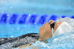 Anja Carman of Slovenia swimming in qualification of Women's 100 m Backstroke in Aquatics Centre in Olympic Park during London 2012 Summer Olympic Games, on July 28, 2012 in London, Great Britain. (Photo by Robertas Dackus / Sportida.com)