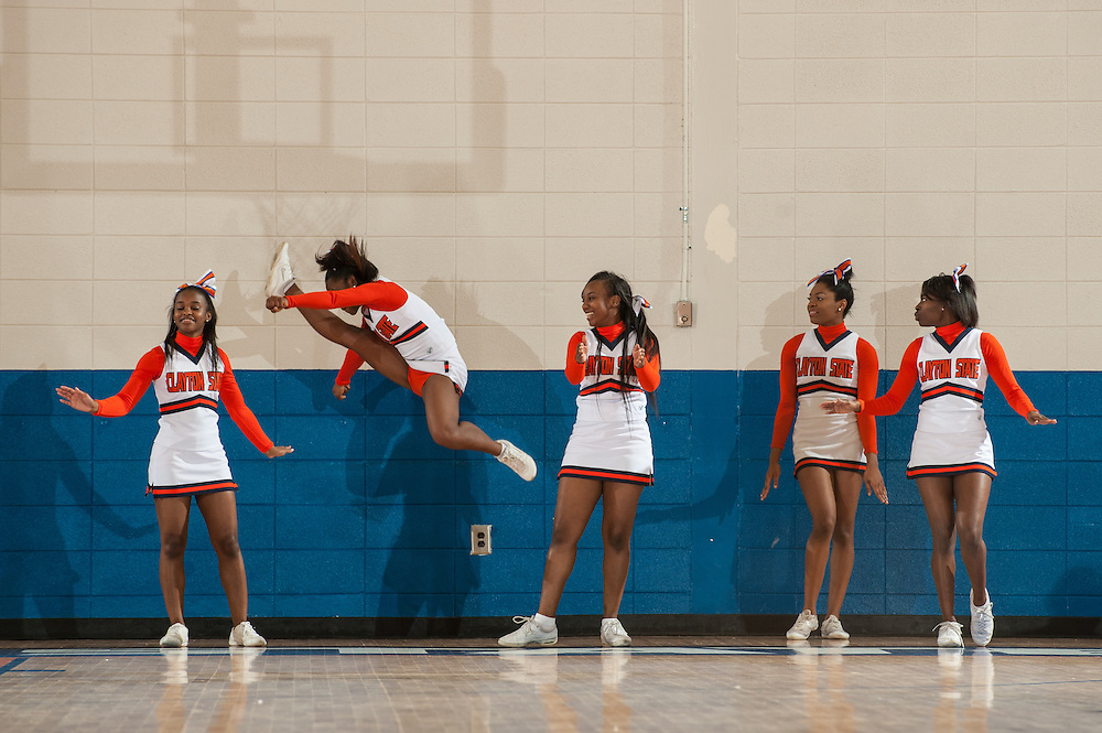 Nov. 23, 2013; Morrow, GA, USA; Clayton State cheerleaders during game against Claflin at Clayton State. Photo by Kevin Liles / kevindliles.com