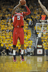 Jan 23, 2010; Columbia, MO, USA; Nebraska Cornhuskers guard Sek Henry (5) shoots the ball in the first half of the game against the Missouri Tigers at Mizzou Arena in Columbia, MO. Missouri won 70-53. Mandatory Credit: Denny Medley-US PRESSWIRE